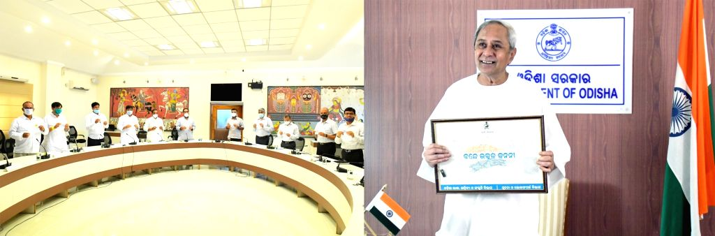 New Delhi: Odisha Chief Minister Naveen Patnaik at the State Cabinet meeting in Bhubaneswar on June 7, 2020. The Odisha Cabinet on Sunday approved a proposal to give state anthem status to 'Bande Utkala Janani'. Parliamentary Affairs Minister Bikram  - Naveen Patnaik