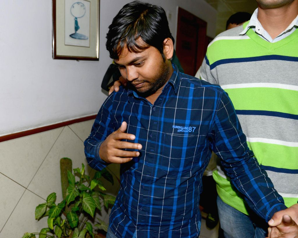 One of the accused arrested by Delhi Police for stealing documents and leaking them to corporate houses at Shashtri Bhawan in New Delhi, on Feb 20, 2015.