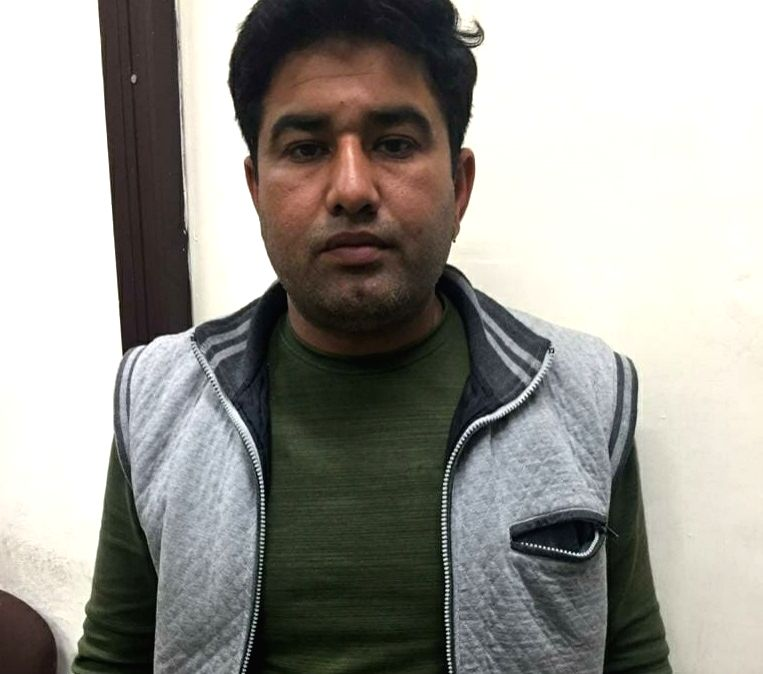 New Delhi: One of the three accused arrested by the Economic Offences Wing (EOW) of Delhi Police in a cheating case under the garb of the land pooling policy of the DDA, on Feb 14, 2020. (Photo: Sanjeev Kumar Singh Chauhan/IANS)