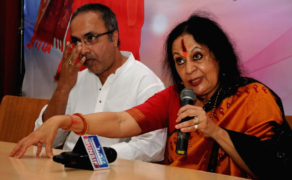 Padma Vibhushan Awardee and a classical dancer Dr. Sonal Mansingh and Sitar Maestro Pandit Shubhendra Rao interacts with media during the launch of XII Jivan Pani Memorial Festival at ...
