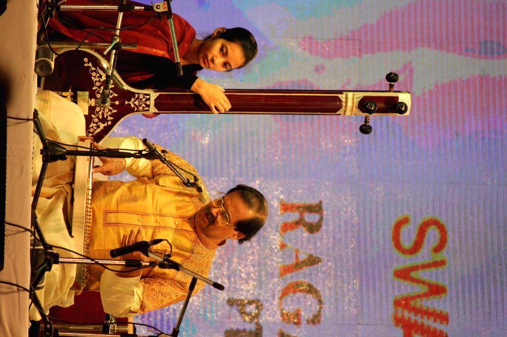Pandit Ajoy Chakrabarty performing at the inauguration of Swar Utsav in New Delhi on Nov. 14, 2014.