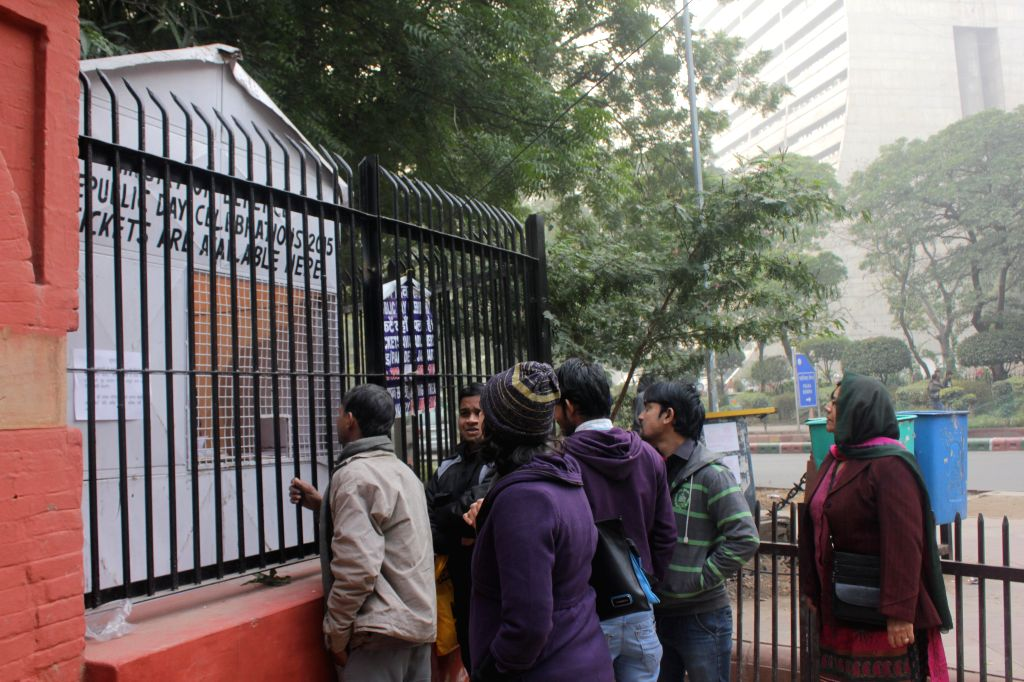 People buy tickets for Republic Day Celebrations - 2015 from a stall setup by the Defence Ministry at Jantar Mantar in New Delhi, on Jan 12, 2015.