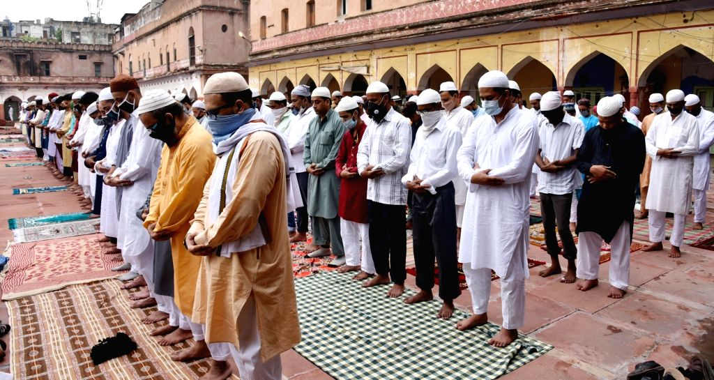 New Delhi: People offer Eid-Ul-Adha prayers at Fatehpuri Masjid in New Delhi on Aug 1, 2020. (Photo: IANS)