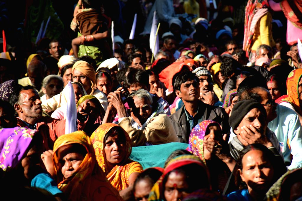 People participate in a demonstration at Jantar Mantar in New Delhi, on Dec 2, 2014.
