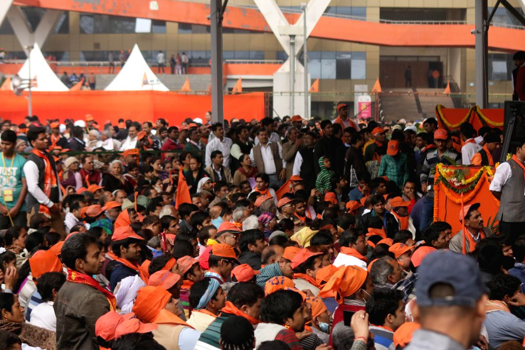People participate in VHP's Virat Hindu Sammelan organised at Jawaharlal Nehru Stadium of New Delhi, on March 1, 2015.