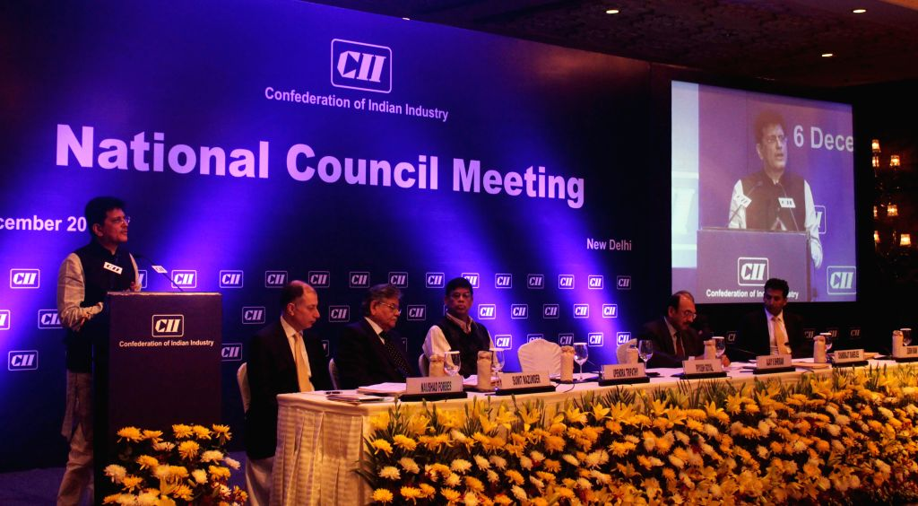 Piyush Goyal, Union Minister of State with Independent Charge for Power, Coal and New & Renewable Energy addressing at the CII National Council Meeting in New Delhi on Nov. 6, 2014.