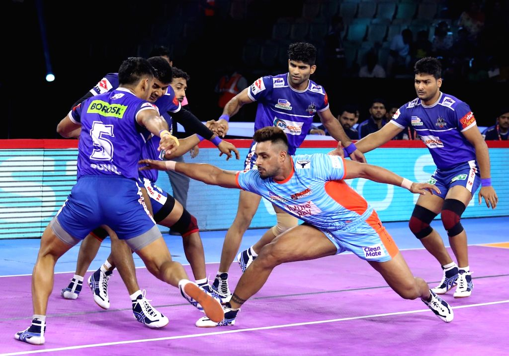 New Delhi: Players in action during Pro Kabaddi Season 7 match between Bengal Warriors and Haryana Steelers at Thayagraj Sports Complex in New Delhi on Aug 26, 2019. (Photo: IANS)