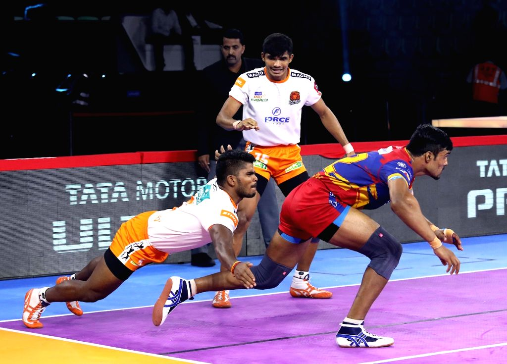 New Delhi: Players in action during Pro Kabaddi Season 7 match between UP Yoddha and Puneri Paltan at Thayagraj Sports Complex in New Delhi on Aug 26, 2019. (Photo: IANS)