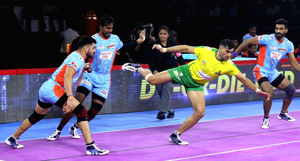 New Delhi: Players in action during Pro Kabaddi Season 7 match between Tamil Thalaivas and Bengal Warriors at Thayagraj Sports Complex in NewDelhi on Aug 29, 2019. (Photo: IANS)