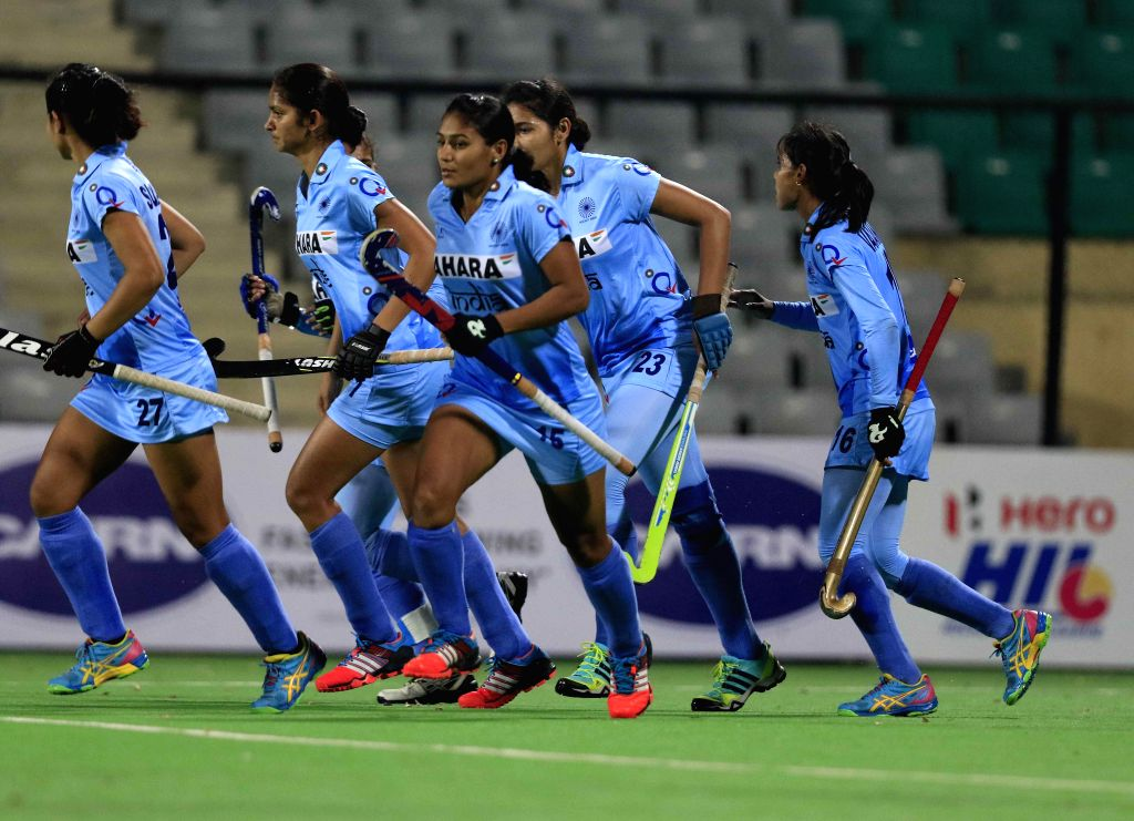 Players of the women team of India and Thailand in action during a match of FIH Hockey World League Round 2 (Women) at Major Dhyan Chand National Stadium in New Delhi on March 10, 2015.