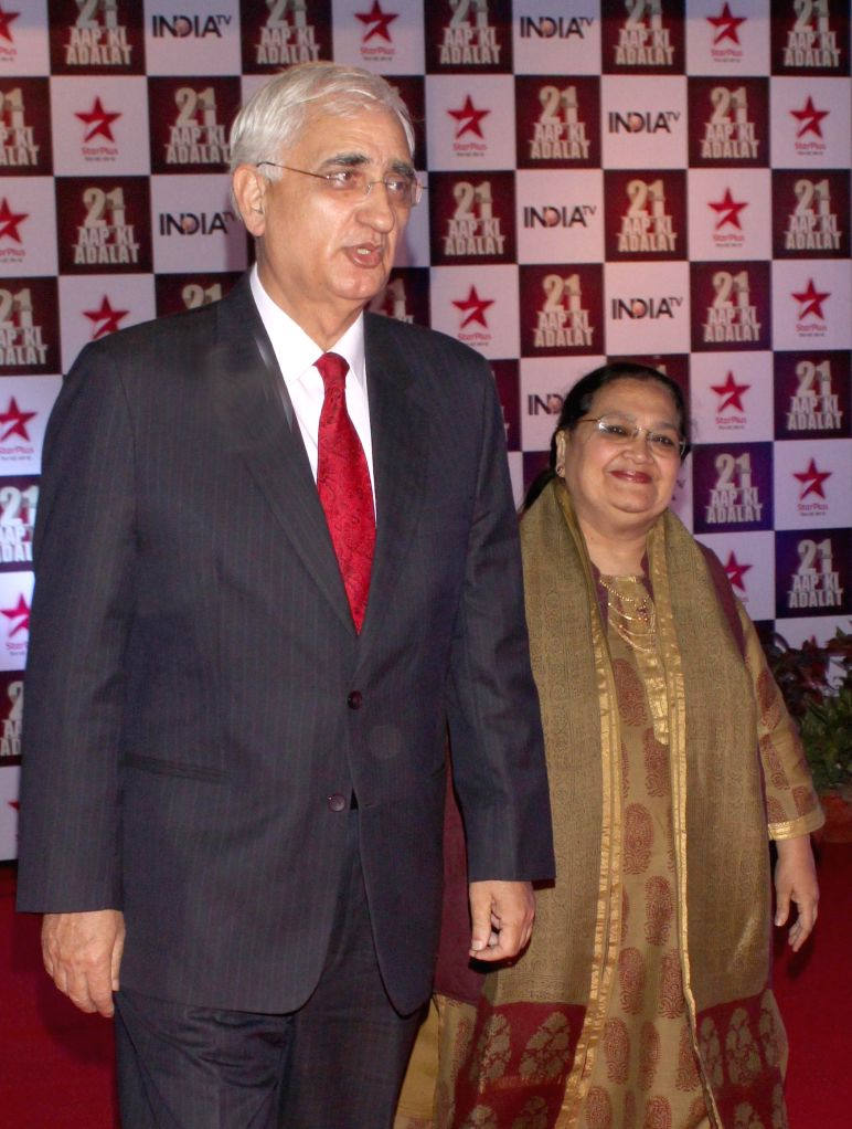 Politician Salman Khurshid during a programme organised to celebrate 21 years of a `Aap Ki Adalat` a TV show at Pragati Maidan in New Delhi on Dec 2, 2014.