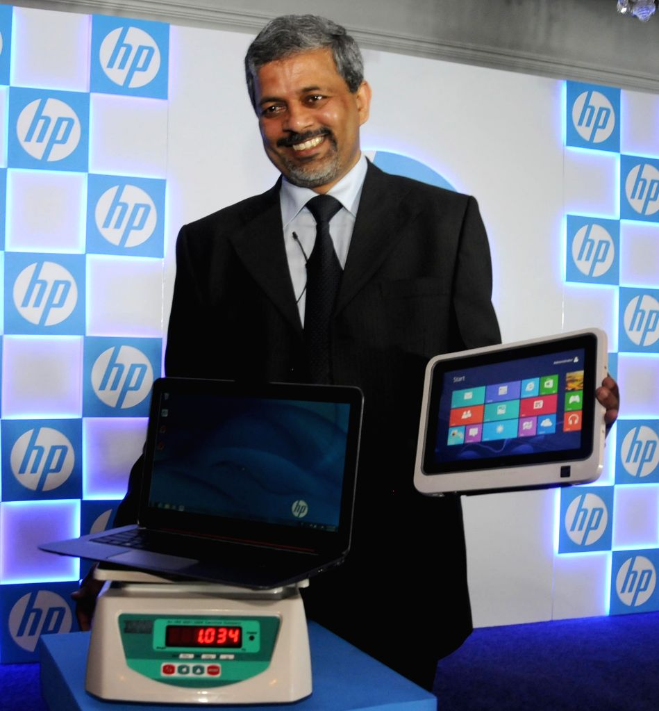 PPS HP India VP and GM Rajiv Srivastava at the launch of a tablet and a laptop in New Delhi, on April 2, 2015.