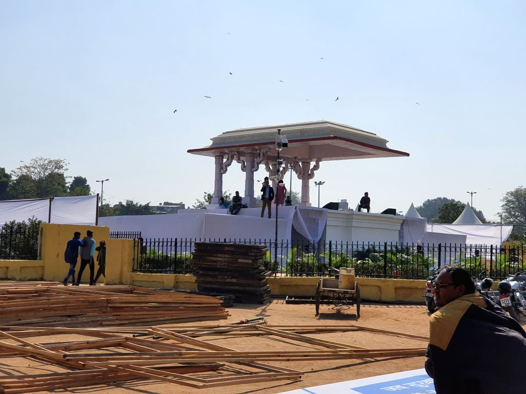 New Delhi: Preparations for the swearing-in ceremony of AAP national convenor Arvind Kejriwal who won the Delhi Assembly elections 2020 by landslide victory, underway at Delhi's Ramlila Ground on Feb 15, 2020. (Photo: IANS) - Arvind Kejriwal