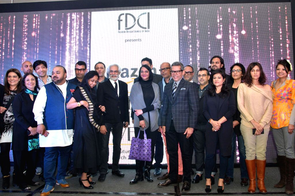 President, (FDCI) Sunil Sethi with Amazon India Head Fashion Vikas Purohit during a programme organised to announce Amazon as the title sponsor of the 25th Edition of India Fashion Week in