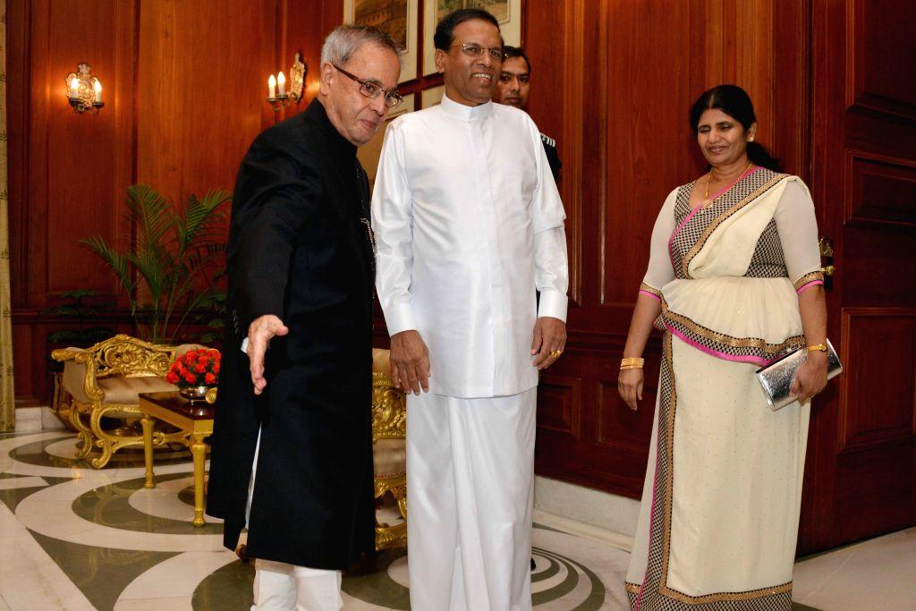 President of the Democratic Socialist Republic of Sri Lanka, Maithripala Sirisena and Jayanthi Sirisena calls on the President Pranab Mukherjee at Rashtrapati Bhavan in New Delhi on Feb ...