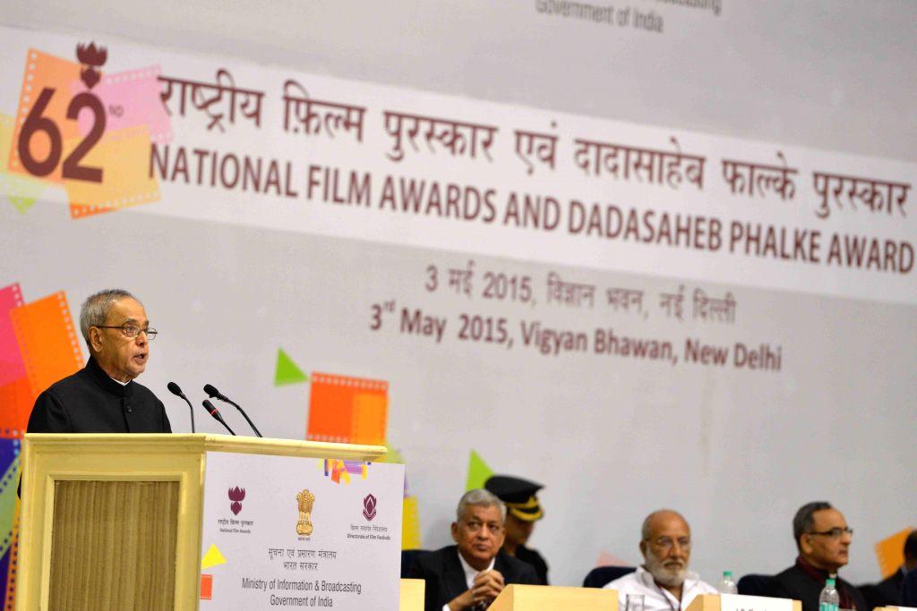 President Pranab Mukherjee addresses at Vigyan Bhavan in New Delhi, on May 3, 2015. - Pranab Mukherjee