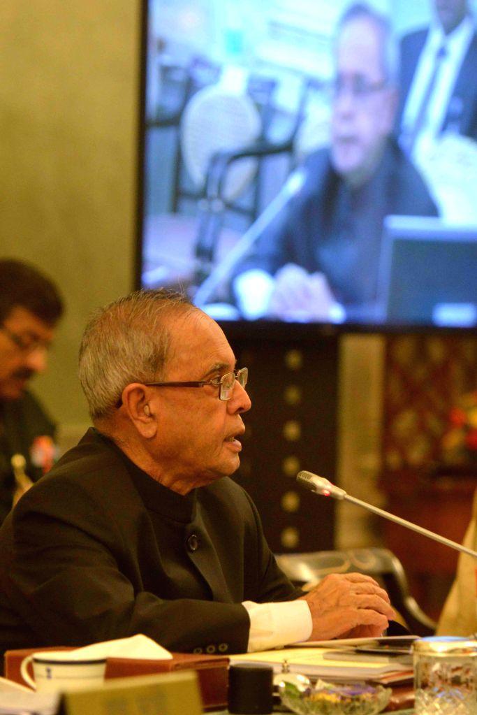 President Pranab Mukherjee at the Conference of Governors at Rashtrapati Bhavan, in New Delhi on February 12, 2015. - Pranab Mukherjee
