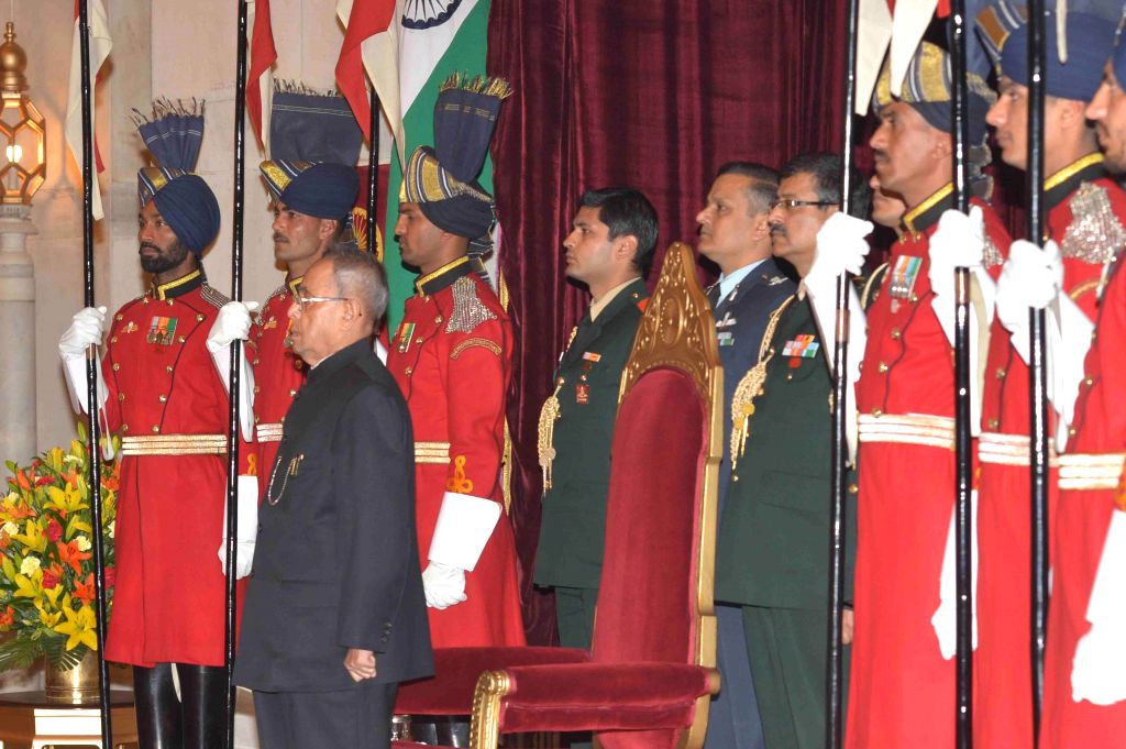 President Pranab Mukherjee during a programme organised to interact with the delegates of Sixth Annual Heads of Mission Conference, at Rashtrapati Bhavan, in New Delhi on Feb 8, 2015. - Pranab Mukherjee