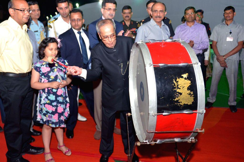 President Pranab Mukherjee during a programme organised to inaugurate a Food Festival at the President's estate on Baisakhi in New Delhi, on April 14, 2015. - Pranab Mukherjee