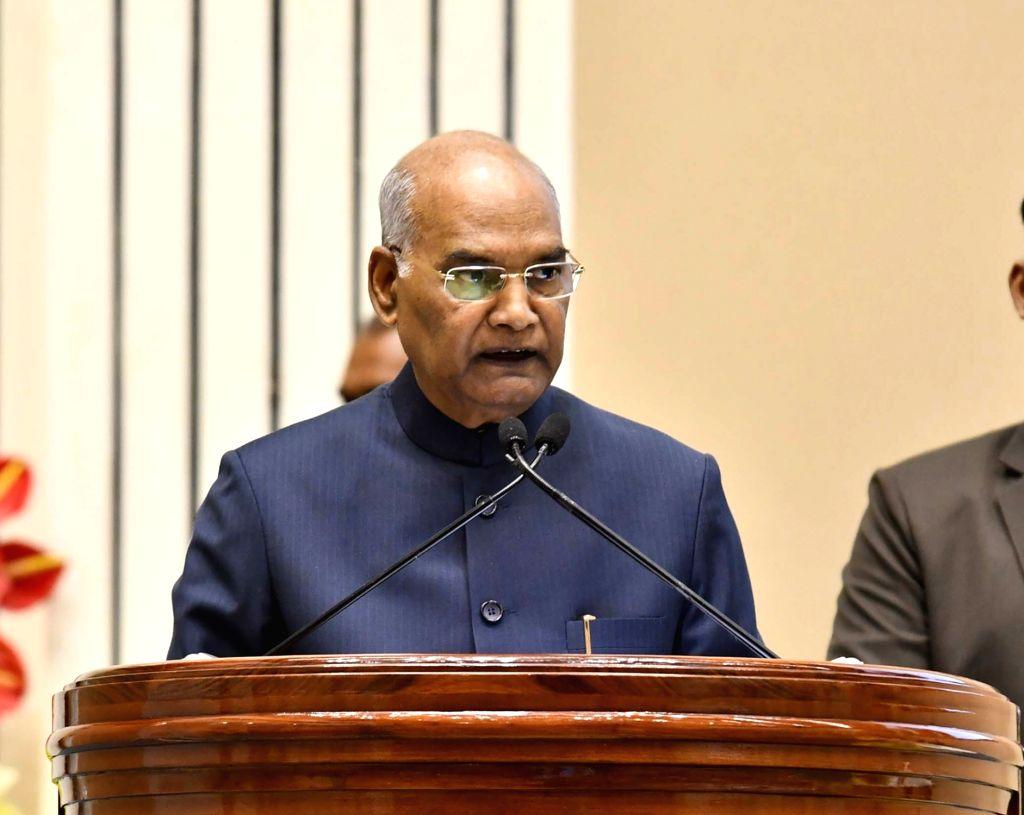 New Delhi: President Ram Nath Kovind addresses at the Swachh Survekshan Awards 2019, in New Delhi, on March 6, 2019. (Photo: IANS/PIB) - Nath Kovind