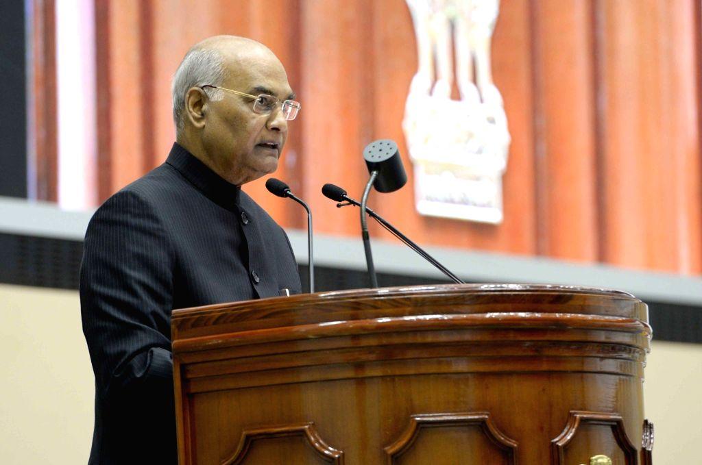 :New Delhi: President Ram Nath Kovind addresses during a Vigilance Awareness Week-2018 programme at Vigyan Bhavan in New Delhi on Oct 31, 2018. (Photo: IANS/RB).