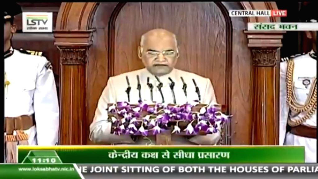 New Delhi: President Ram Nath Kovind addresses joint sitting of both the houses - Lok Sabha and Rajya Sabha - of Parliament at the Central Hall in New Delhi on June 20, 2019. (Photo: IANS/RB) - Nath Kovind