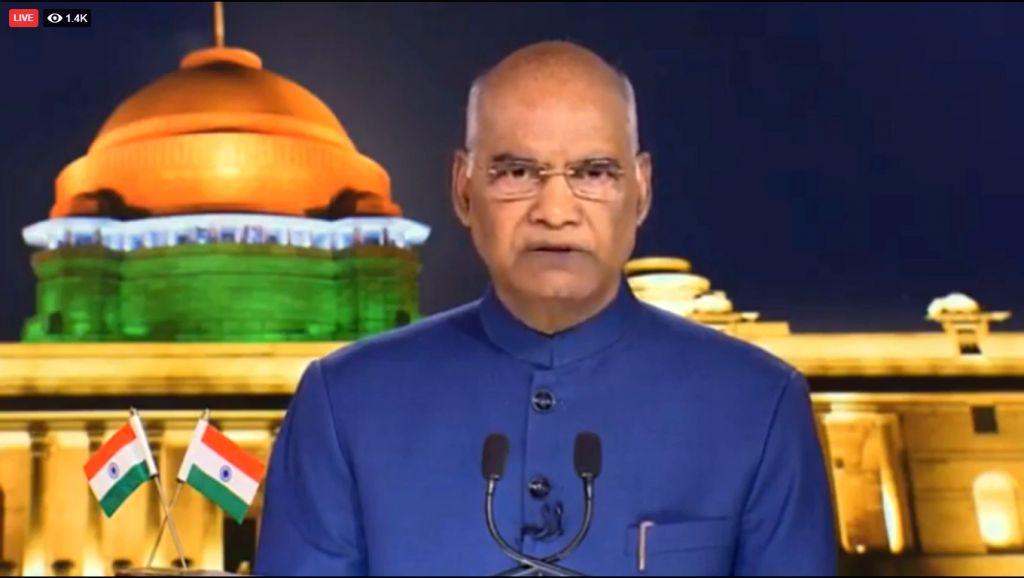 New Delhi: President Ram Nath Kovind addresses the nation on the eve of Independence Day in New Delhi on Aug 14, 2019. (Photo: IANS/RB) - Nath Kovind