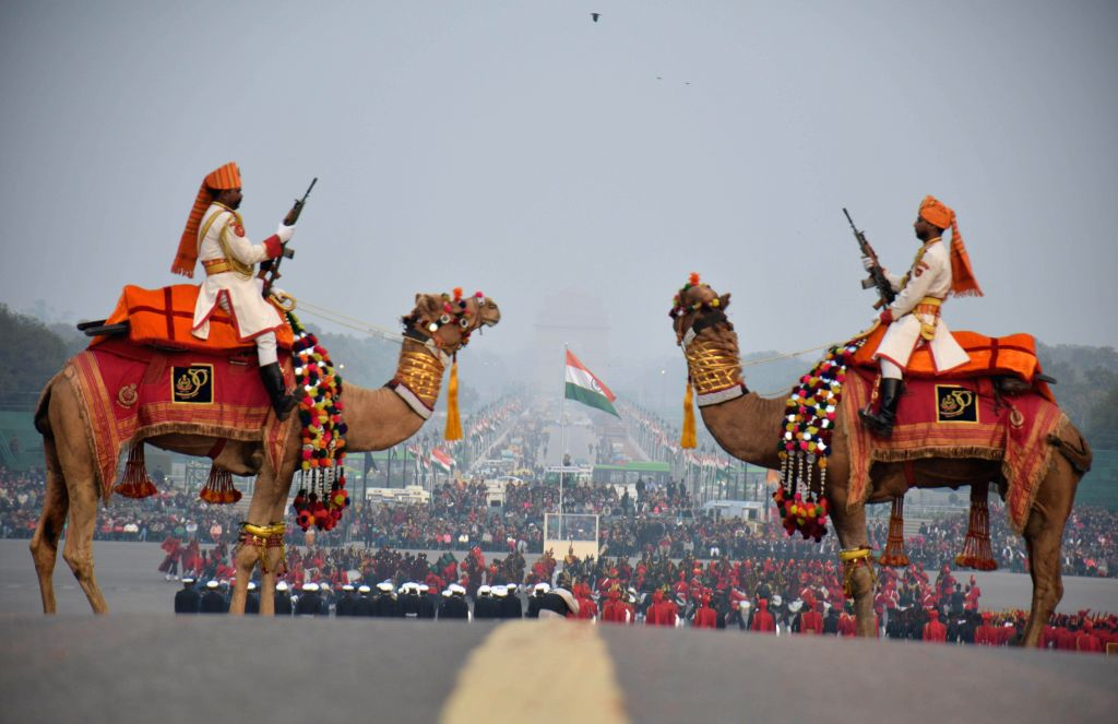 New Delhi President's Body Guards participating at the full-dress rehearsal of Beating the Retreat ceremony at Raisina Hill in New Delhi on Jan. 27, 2015.