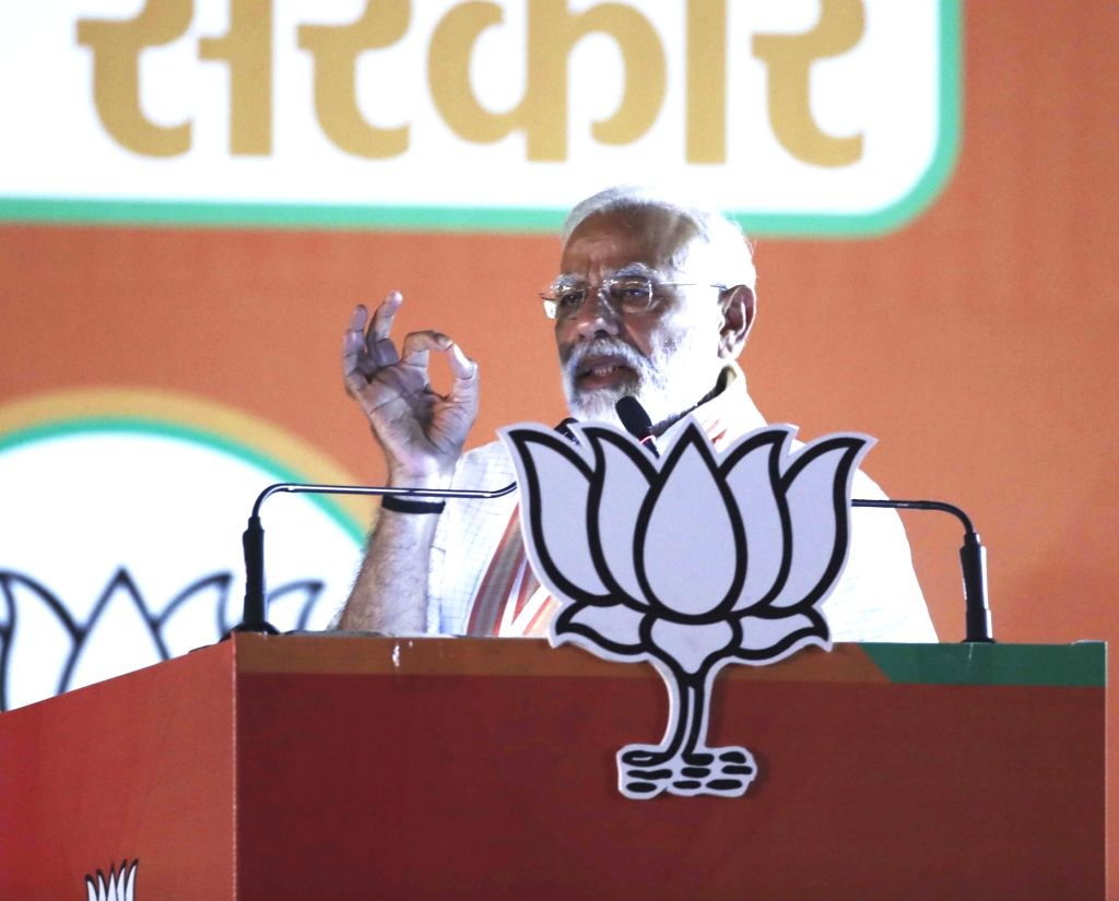 New Delhi: Prime Minister and BJP leader Narendra Modi addresses a public rally at Ramlila Ground in New Delhi, on May 8, 2019. (Photo: IANS) - Narendra Modi