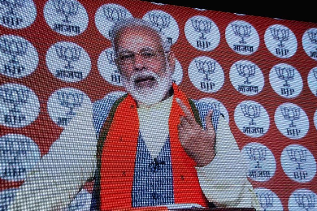 New Delhi: Prime Minister and BJP leader Narendra Modi addresses party workers via video conference, in New Delhi, on Feb 28, 2019. (Photo: IANS) - Narendra Modi