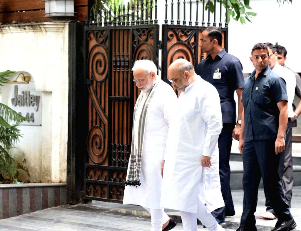 New Delhi: Prime Minister Narendra Modi accompanied by Union Home Minister Amit Shah seen leaving after paying their condolence to the family members of the former Union Minister Arun Jaitley, at his residence, in New Delhi on August 27, 2019. (Photo - Narendra Modi, Amit Shah and Arun Jaitley