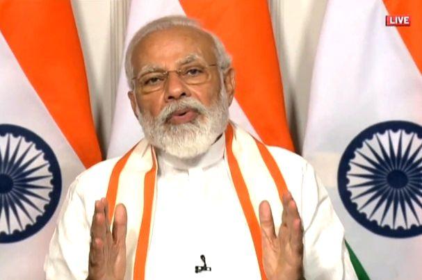 New Delhi: Prime Minister Narendra Modi addresses 125th year celebrations of CII via video conferencing, in New Delhi on June 2, 2020. (Photo: IANS/BJP) - Narendra Modi
