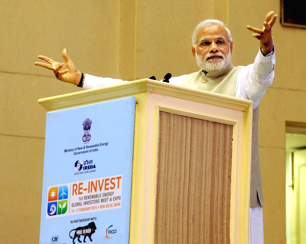 Prime Minister Narendra Modi addresses at the inauguration the first Renewable Energy Global Investors Meet (RE-Invest) and Expo at Vigyan Bhawan in New Delhi on Feb 15, 2015. - Narendra Modi