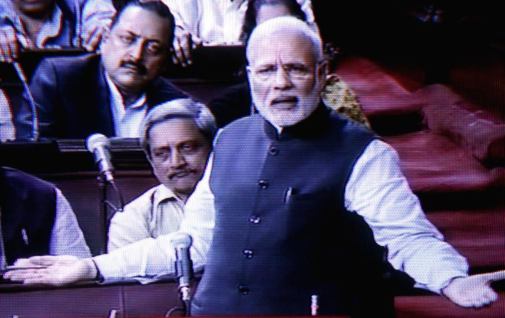 Prime Minister Narendra Modi addresses in Rajya Sabha during the budget session of the Parliament in New Delhi on March 3, 2015. - Narendra Modi