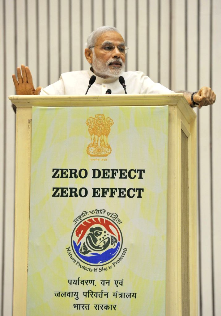 Prime Minister Narendra Modi addresses at the Conference of State Environment and Forest Ministers in New Delhi on April 6, 2015. - Narendra Modi