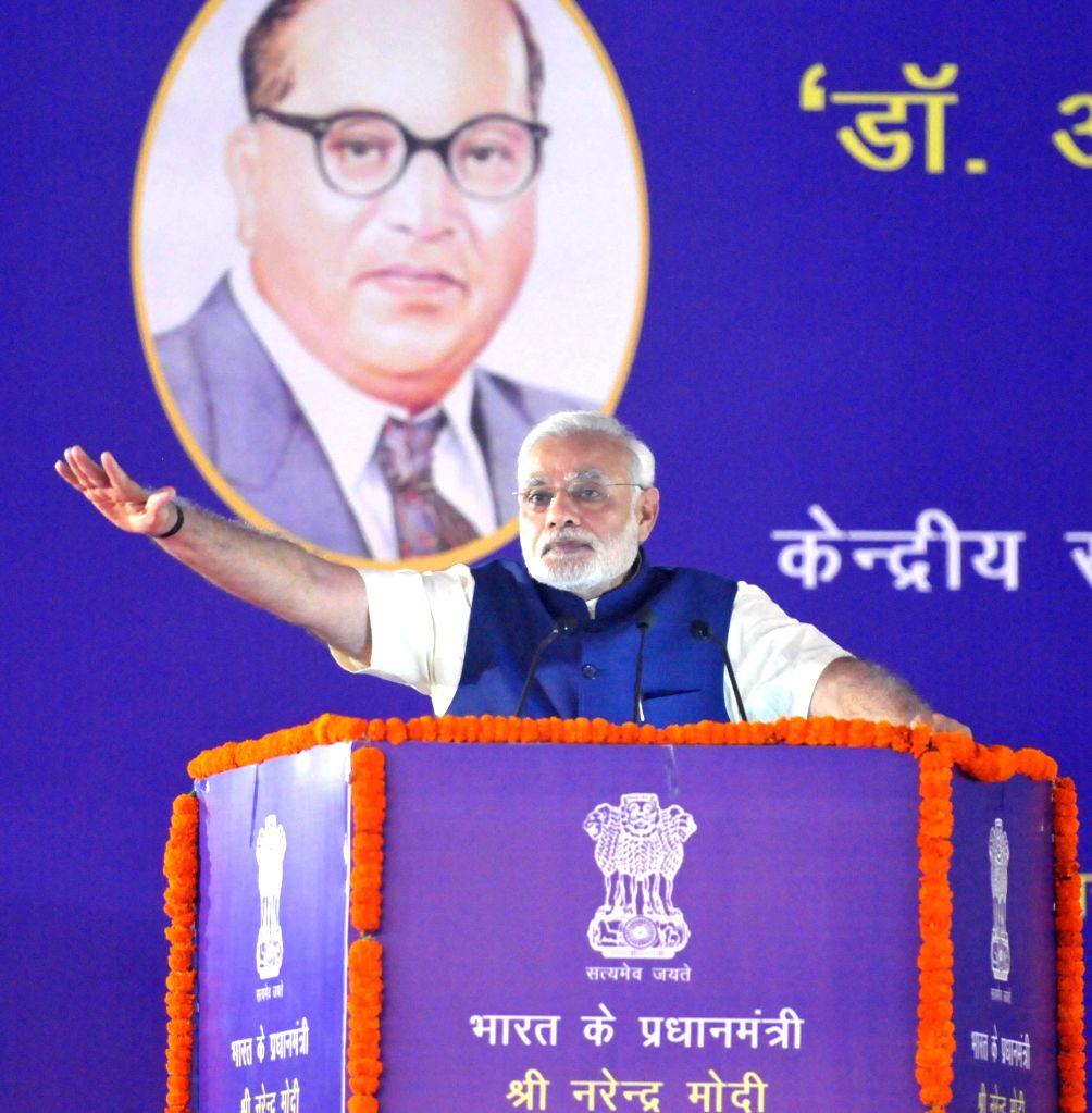 Prime Minister Narendra Modi addresses at the Foundation Stone laying Ceremony of Dr. Ambedkar International Centre, in New Delhi on April 20, 2015. - Narendra Modi