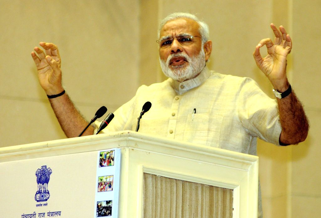 Prime Minister Narendra Modi addresses at the National Panchayati Raj Day function, in New Delhi on April 24, 2015. (Photo : IANS) - Narendra Modi