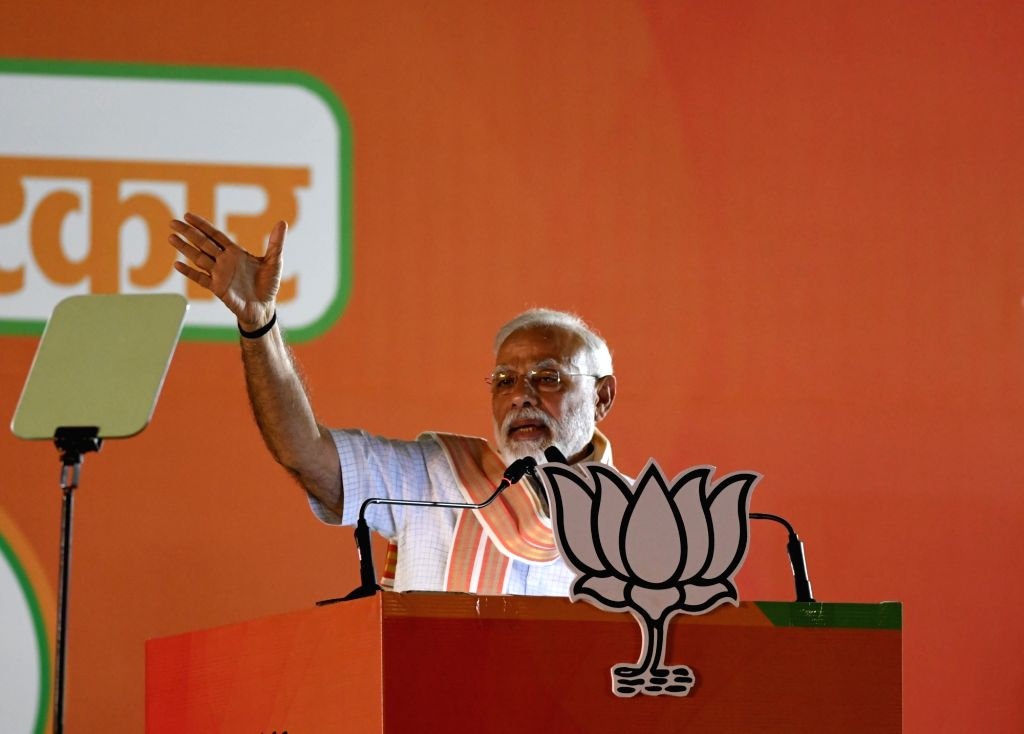 New Delhi: Prime Minister Narendra Modi addresses a public rally at Ramlila Ground in New Delhi, on May 8, 2019. (Photo: IANS) - Narendra Modi