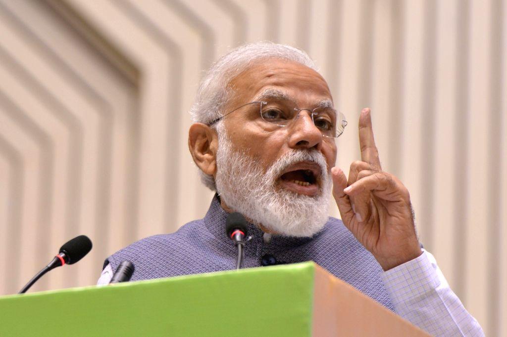 New Delhi: Prime Minister Narendra Modi addresses at Construction Technology India 2019, in New Delhi on March 2, 2019. (Photo: IANS) - Narendra Modi