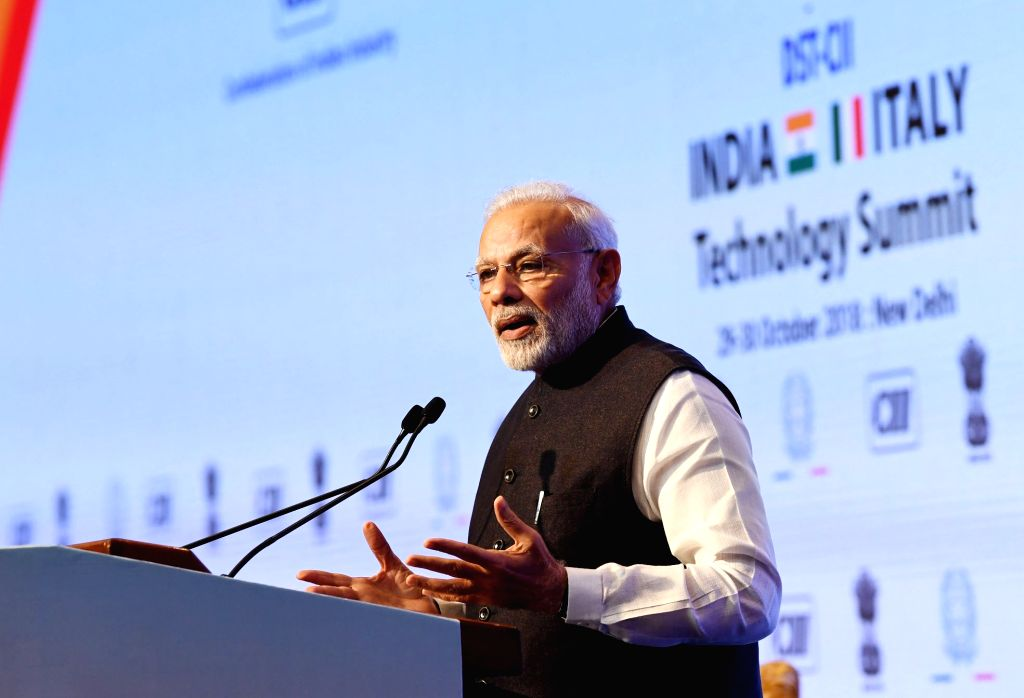 :New Delhi: Prime Minister Narendra Modi addresses at India-Italy Technology Summit in New Delhi on Oct 30, 2018. (Photo: IANS/PIB).