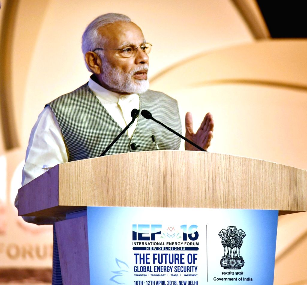 :New Delhi: Prime Minister Narendra Modi addresses at the 16th International Energy Forum Ministerial Meeting, in New Delhi on April 11, 2018. (Photo: IANS/PIB).