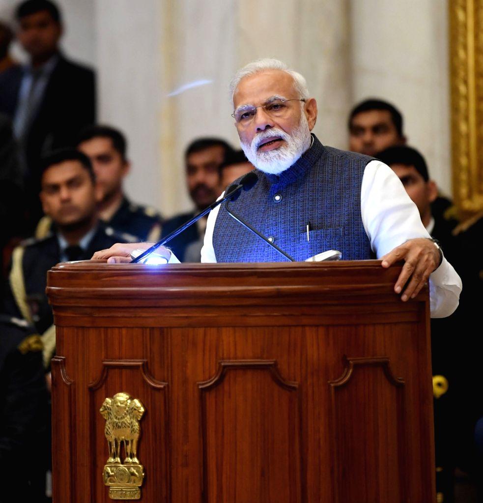 New Delhi: Prime Minister Narendra Modi addresses at the Gandhi Peace Prize 2015 - 2018 at Rashtrapati Bhawan, in New Delhi, on Feb 26, 2019. (Photo: IANS/PIB) - Narendra Modi