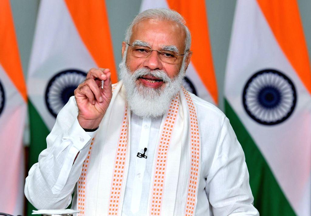 New Delhi: Prime Minister Narendra Modi addresses at the inauguration of the Patrika Gate in Jaipur, through video conferencing, in New Delhi on Sep 8, 2020.(Photo: IANS/PIB) - Narendra Modi