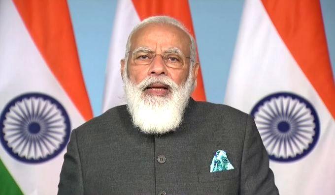 New Delhi: Prime Minister Narendra Modi addresses at the inauguration of multi-storeyed flats for MPs in New Delhi via video conferencing on Nov 23, 2020. (Photo: IANS) - Narendra Modi