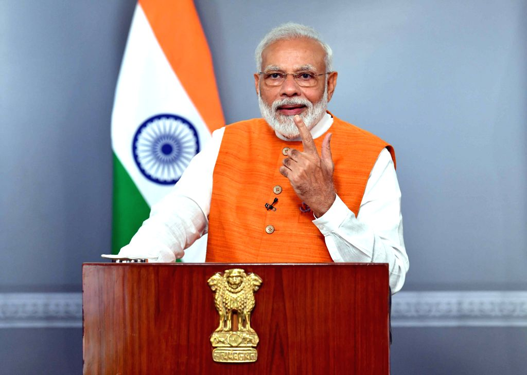 New Delhi: Prime Minister Narendra Modi addresses at the Malayala Manorama News Conclave 2019in Kochi via video conferencing, in New Delhi on Aug 30, 2019. (Photo: IANS/PIB) - Narendra Modi