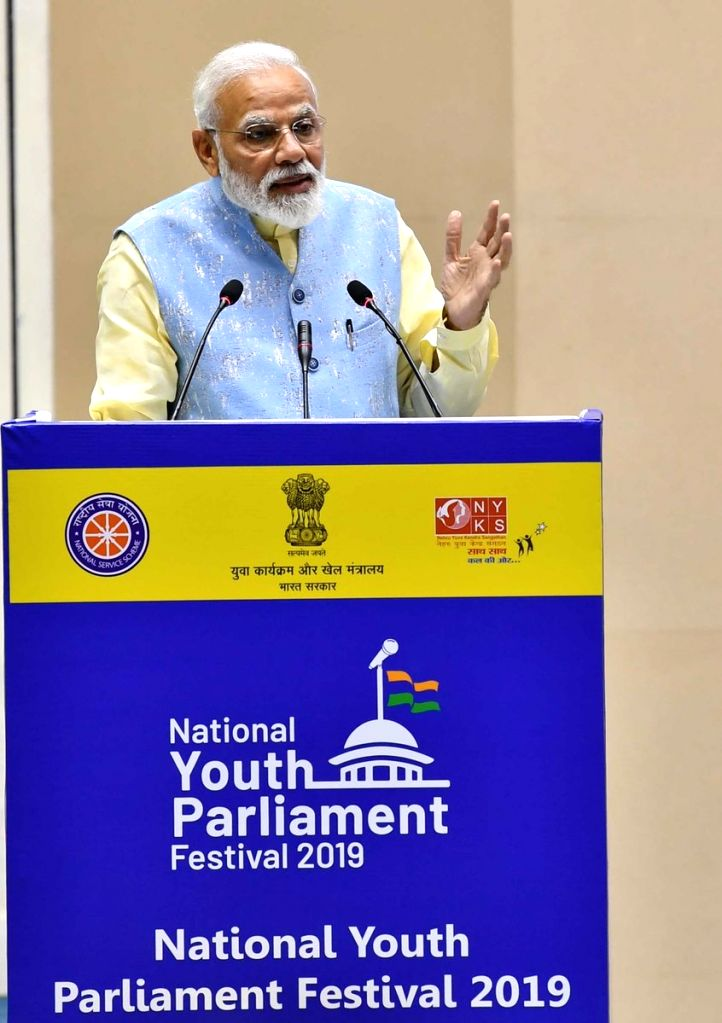 New Delhi: Prime Minister Narendra Modi addresses at the National Youth Parliament Festival Awards - 2019, in New Delhi, on Feb 27, 2019. (Photo: IANS/PIB) - Narendra Modi