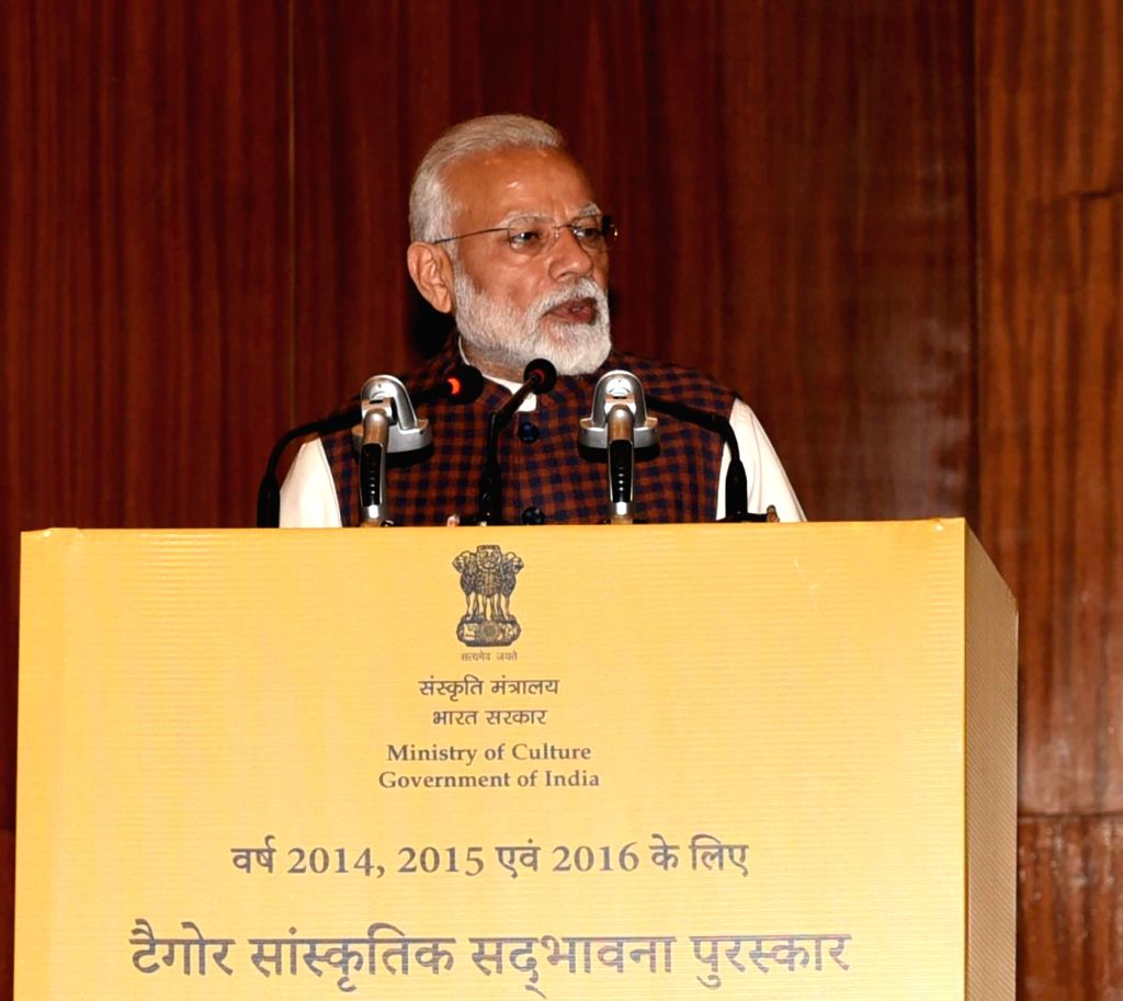 New Delhi: Prime Minister Narendra Modi addresses at the Tagore Award for Cultural Harmony for the years 2014, 2015 and 2016; in New Delhi, on Feb 18, 2019. (Photo: IANS/PIB) - Narendra Modi