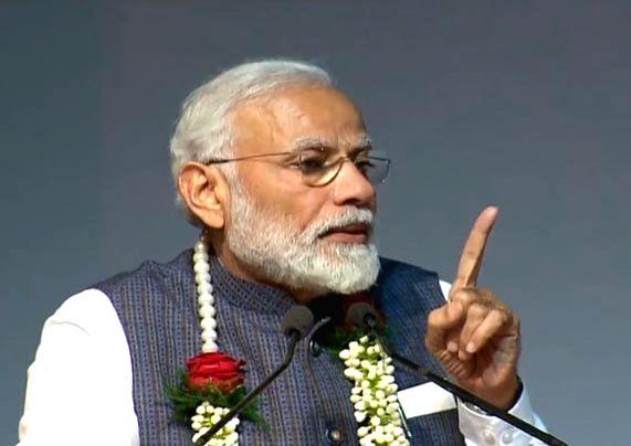 New Delhi: Prime Minister Narendra Modi addresses during Gita Aradhana Mahotsav at the ISKCON temple in New Delhi on Feb 26, 2019. (Photo: IANS) - Narendra Modi