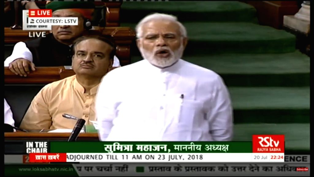 : New Delhi:  Prime Minister Narendra Modi addresses in Lok Sabha in New Delhi on July 20, 2018. (Photo: IANS/LSTV Grab).