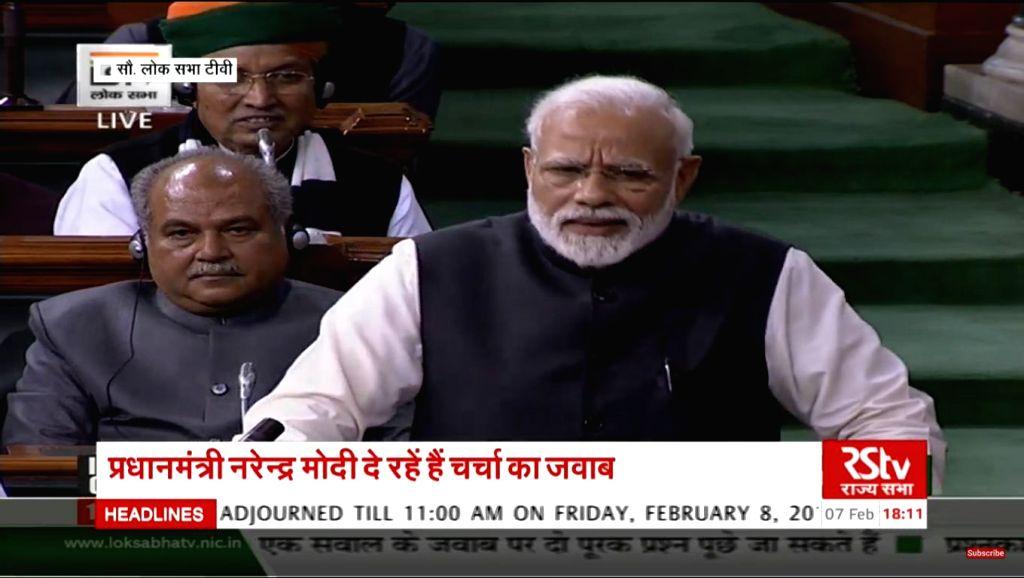 New Delhi: Prime Minister Narendra Modi addresses in Lok Sabha in New Delhi on Feb 7, 2019. (Photo: IANS/RSTV) - Narendra Modi